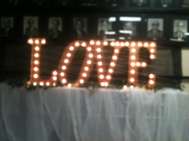 Love Vintage Letter Lights at a wedding