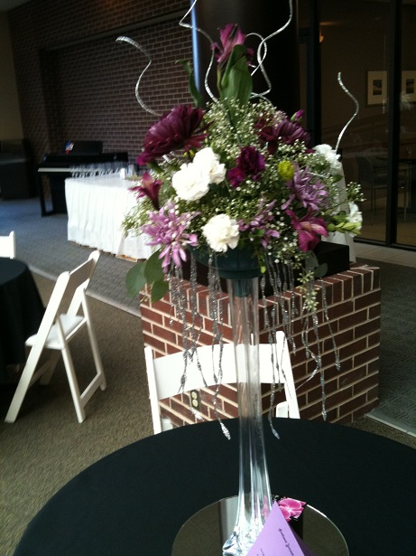 Purple Tower Vase Arrangement