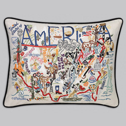 America Embroidered Pillow-Catstudio, Pillow, Embroidered, Hand, State, Country, City