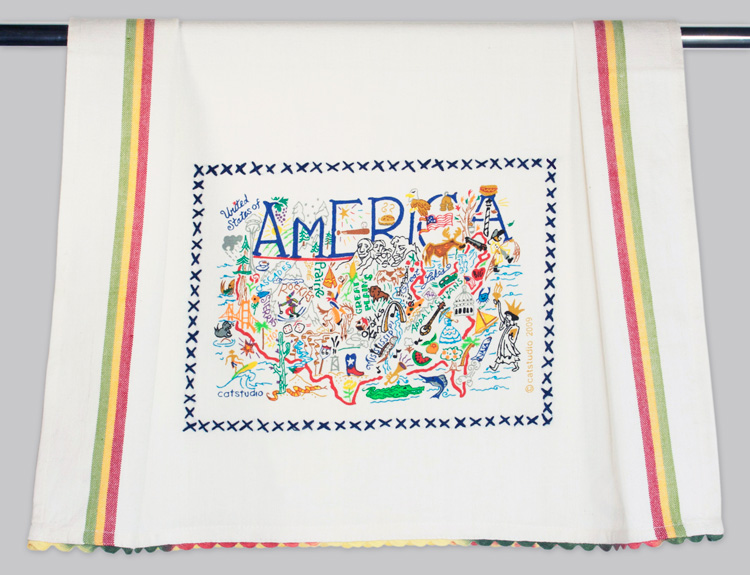 America Dish Towel-Towel, Kitchen, America, Embroidered, hand