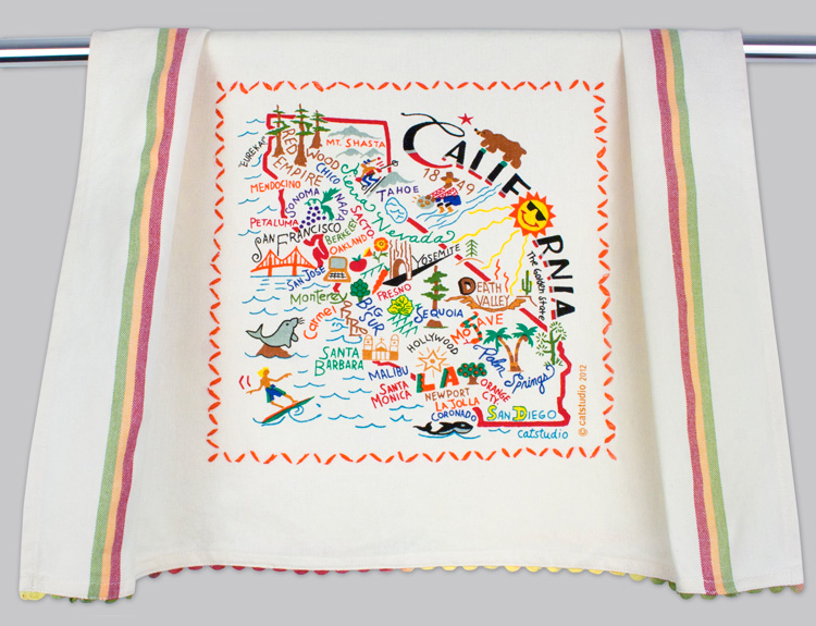 California Dish Towel-Dish, Towel, Kitchen, Catstudio, embroidered, hand