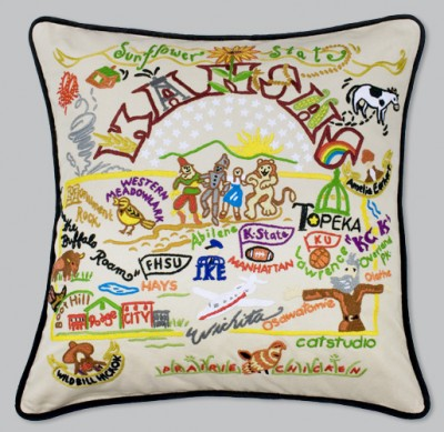 Kansas Embroidered Pillow-