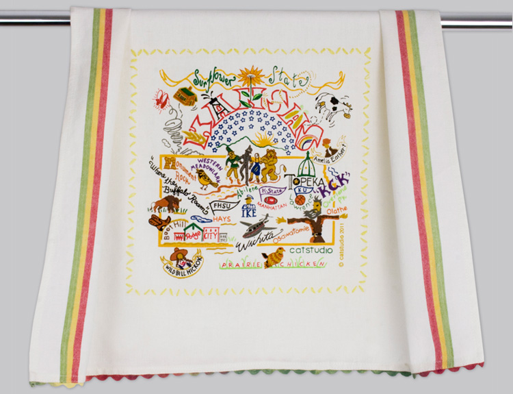 Kansas Dish Towel-Dish, Towel, Texas, Catstudio, Embroidered, hand