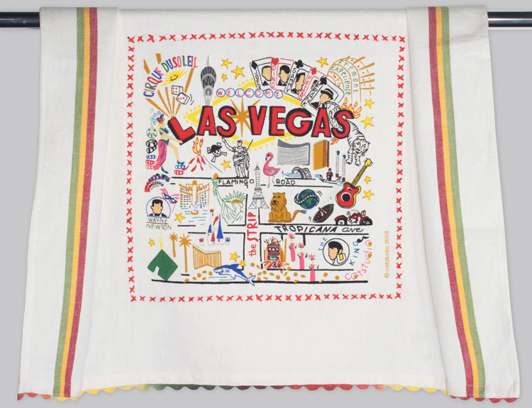 Las Vegas Dish Towel-Las Vegas, City, dish, towel, catstudio, embroidered, hand