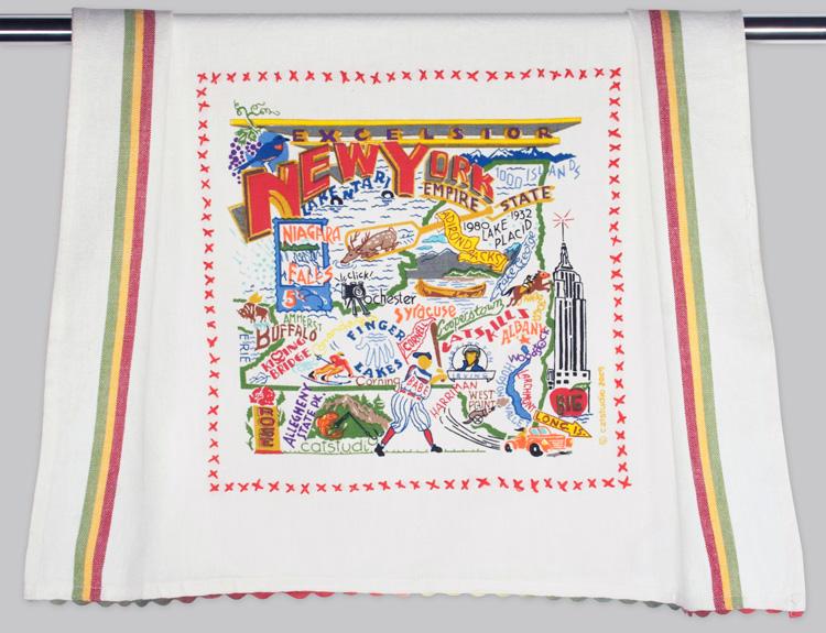 New York Dish Towel-New York, State, towel, catstudio, embroidered, hand