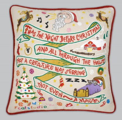 Night Before Christmas Embroidered Pillow-