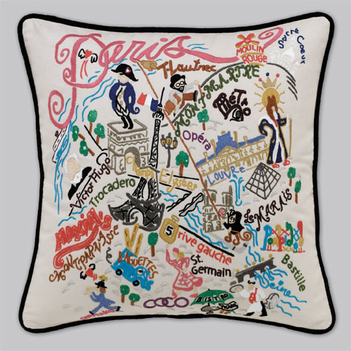 Paris Embroidered Pillow-Paris, City, Embroidered, Hand, Pillow