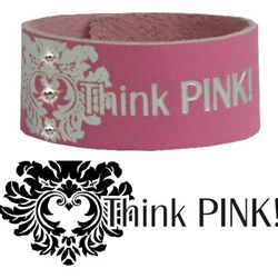 Breast Cancer Support Bracelets-breast cancr, inspirational, pink, leather