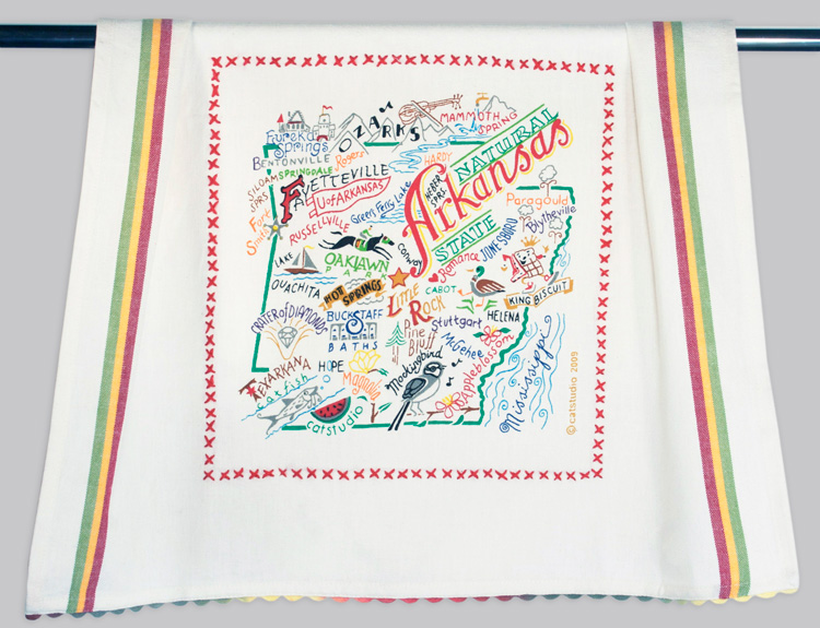 Arkansas Dish Towel-Dish, Towel, Kitchen, Embroidered, hand, state