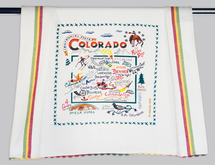 Colorado Dish Towel-Catstudio, colorado, state, dish, towel, hand, embroidered