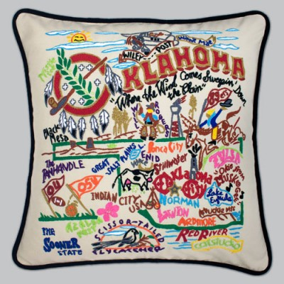 Oklahoma Embroidered Pillow-