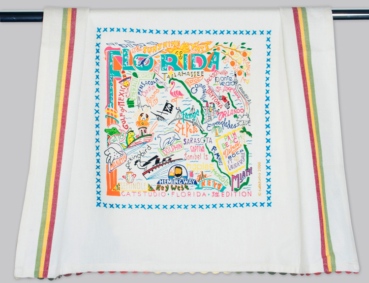 Florida Dish Towel-Catstudio, Dish, Towel, hand, embroidered, state