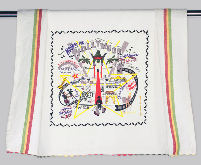 Hollywood Dish Towel-hand, embroidered, city, towel, catstudio