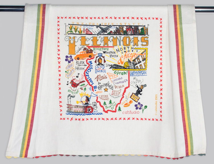 Illinois Dish Towel-Illinios, State, Dish, Towel, Catstudio, hand, embroidered
