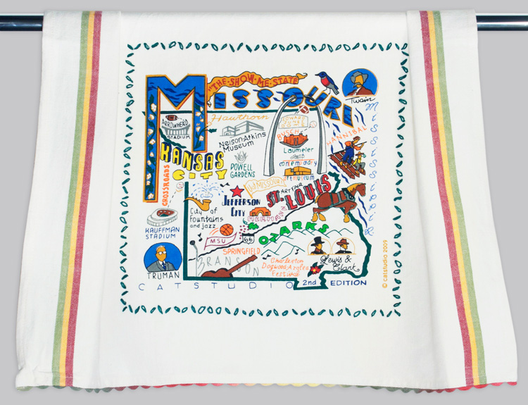 Missouri Dish Towel-Missouri, State, towel, embroidered, catstudio