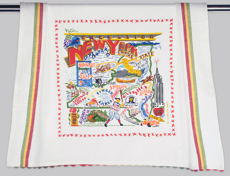 New York Dish Towel-New York, State, towel, catstudio, embroidered, hand