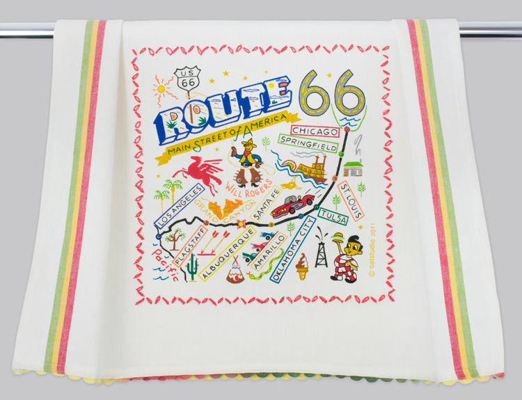 Route 66 Dish Towel-Route 66, towel, catstudio, hand, embroidered