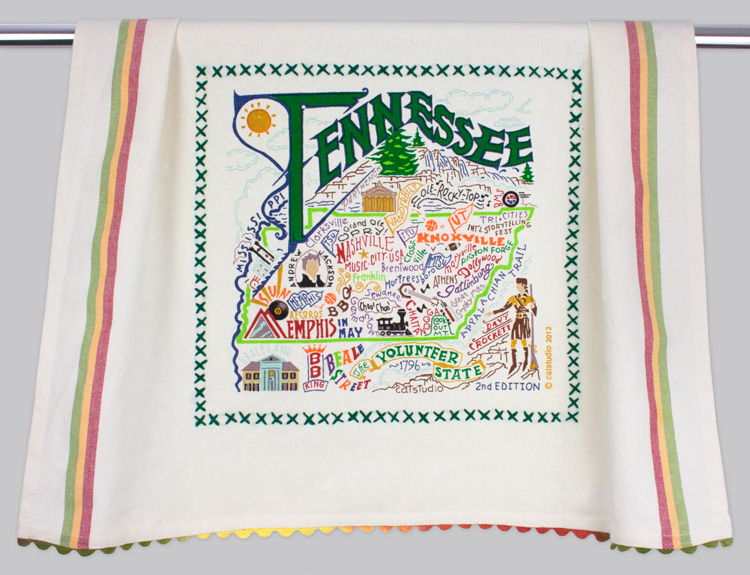 Tennessee Dish Towel-Catstudio, Tennesse, State, Dish, Kitchen, Towel, hand, embroidered