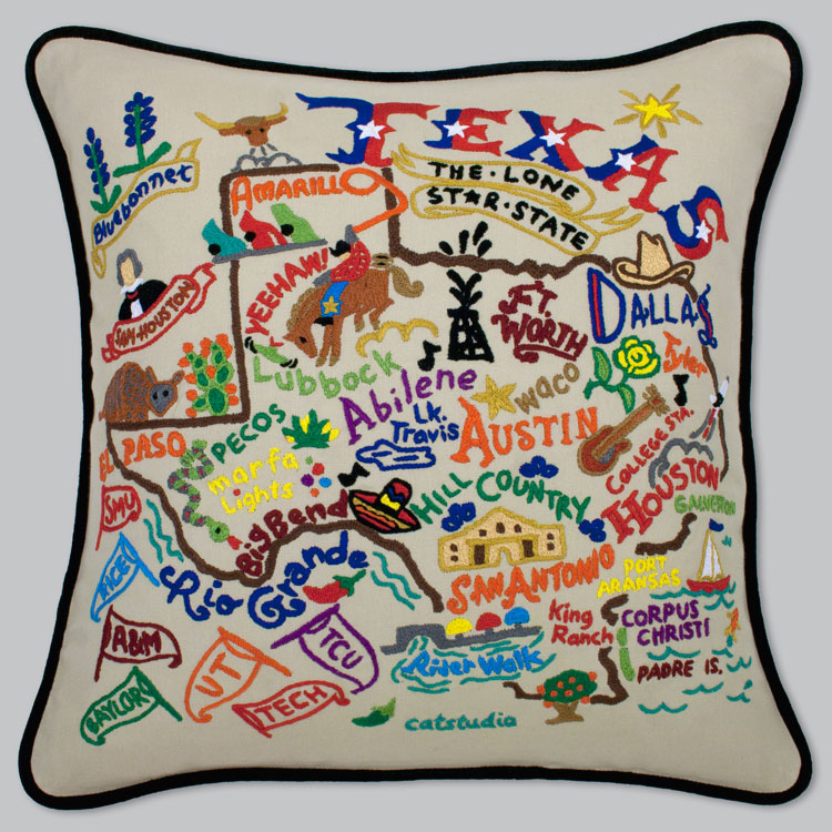 Texas Embroidered Pillow-Texas, Pillow, Embroidered, State, Hand