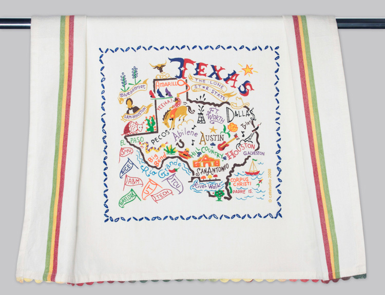 Texas Dish Towel-Texas, catstudio, hand, embroidered, dish, towel, kitchen, state