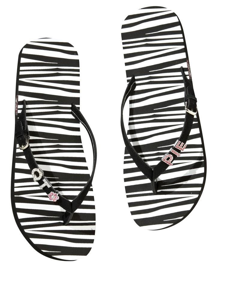 Zebra Print Flip-Flops - Personalizable-flips flops, zebra, personalizable